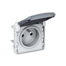 Prise de courant 2P+T avec éclips de protection PLEXO composable IP55 16A 250V - gris LEGRAND