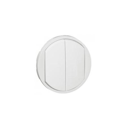Enjoliveur large Céliane pour double interrupteur, va-et-vient ou poussoir - Blanc LEGRAND