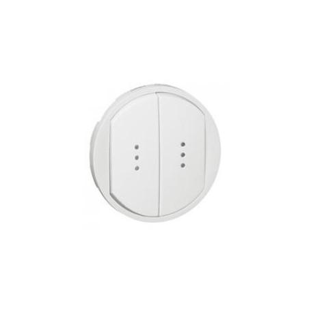 Enjoliveur large Céliane pour double interrupteur, va-et-vient ou poussoir avec voyant - Blanc LEGRAND