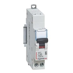Disjoncteur Phase+Neutre DNX³4500 6kA auto/vis - 1P+N 230V~ 20A courbe C - 1 module LEGRAND