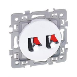 Double prise haut-parleur SQUARE - 250V - Blanc EUR'OHM