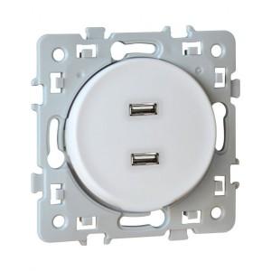Prise chargeur USB femelle SQUARE 1 poste - 5.5V - Blanc EUR'OHM