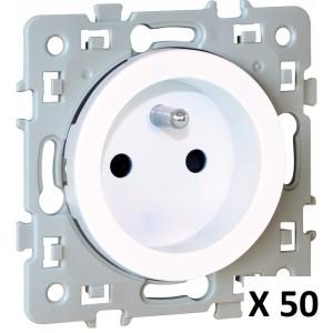 Prise de courant SQUARE 2P+T - Lot de 50 - 1 poste - 16A - 250V - Blanc EUR'OHM