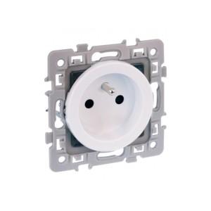 Prise de courant SQUARE 2P+T à griffes - rénovation - blanc EUR'OHM