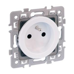 Prise de courant SQUARE 2P+T 16A avec connexion haut/bas - rénovation - blanc EUR'OHM