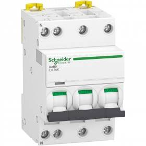 Disjoncteur 10A courbe C - 3P+N - 4500A/4,5kA - Acti9 iDT40K SCHNEIDER