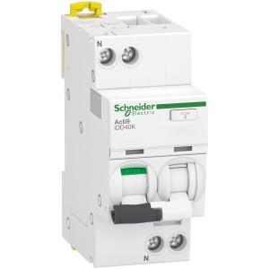 Disjoncteur différentiel Acti9 iDD40K - 1P+N - 40A - 4500A/4,5 kA - courbe C - 300mA - type AC SCHNEIDER