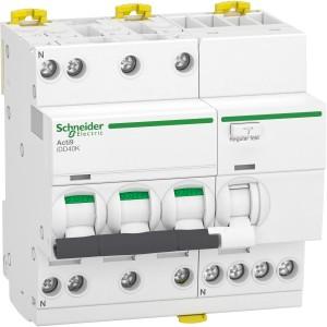 Disjoncteur différentiel Acti9 iDD40K - 3P+N - 40A - 4500A/4,5 kA - courbe C - 300mA - type AC SCHNEIDER