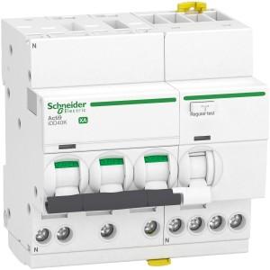 Disjoncteur différentiel Acti9 iDD40K XA auto - 3P+N - 25A - 4500A/4,5 kA - courbe C - 30mA - type AC SCHNEIDER