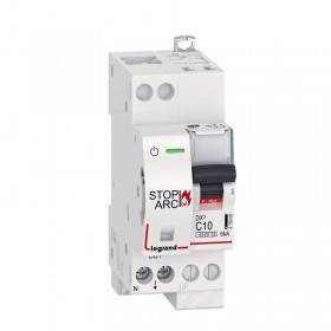 Disjoncteur 1P+N 230V~ 10A - courbe C - 2 modules - auto/vis - DX³ STOP ARC 4500 - 6kA LEGRAND
