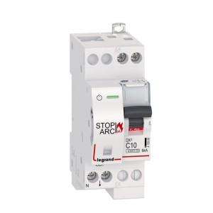 Disjoncteur 1P+N 230V~ 10A - courbe C - 2 modules - vis/vis - DX³ STOP ARC 4500 - 6kA LEGRAND