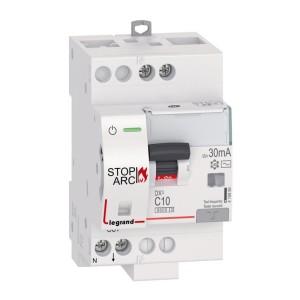 Disjoncteur différentiel DX³ STOP ARC 6000 - 1P+N 230V~ - 10A typeAC 30mA - courbe C - 3 modules LEGRAND
