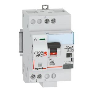 Disjoncteur différentiel DX³ STOP ARC 6000 - 1P+N 230V~ - 16A typeAC 30mA - courbe C - 3 modules LEGRAND