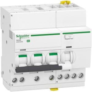 Disjoncteur différentiel Acti9 iDD40N XA auto - 3P+N - 25A - 6000A/10 kA - courbe C - 30mA - type AC SCHNEIDER