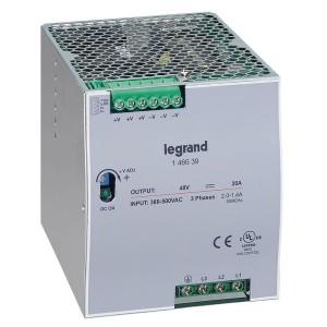 Alimentation stabilisée à découpage triphasée entrée 3x380V à 3x500V et sortie 48V - 960W LEGRAND
