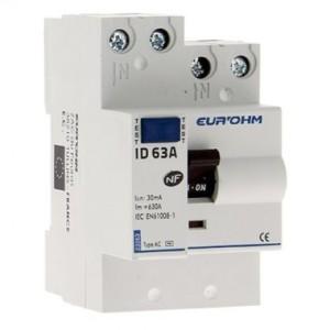 Interrupteur différentiel 63A - 1P+N - 30mA - type AC - Eur'ohm 23263 EUR'OHM