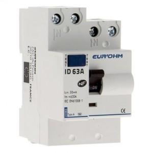 Interrupteur différentiel 63A - 1P+N - 30mA - type A - Eur'ohm 23363 EUR'OHM