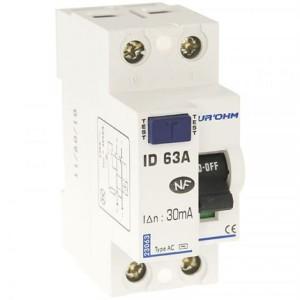 Interrupteur différentiel 63A - 1P+N - 30mA - type AC - Eur'ohm 23063 EUR'OHM