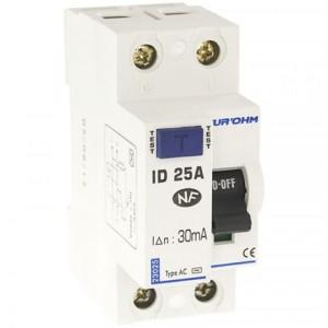 Interrupteur différentiel 25A - 1P+N - 30mA - type AC - Eur'ohm 23025 EUR'OHM