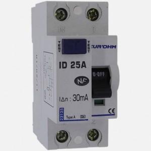 Interrupteur différentiel 25A - 1P+N - 30mA - type A - Eur'ohm 23125 EUR'OHM