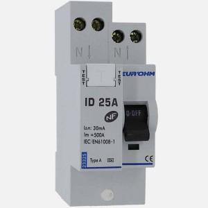 Interrupteur différentiel 25A - 1P+N - 30mA - type A - Eur'ohm 23325 EUR'OHM