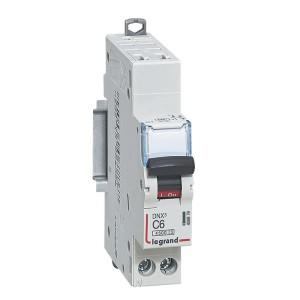 Disjoncteur Phase+Neutre DNX³4500 6kA auto/vis - 1P+N 230V~ 6A courbe C - 1 module LEGRAND