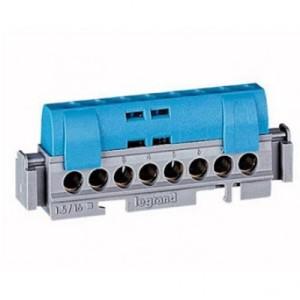Bornier de répartition isolé IP2X neutre - 8 connexions 1,5mm² à 16mm² - bleu - L.75mm LEGRAND