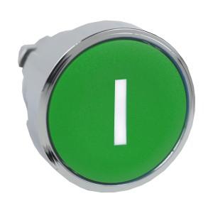 Tête bouton poussoir - affleurant - Ø22 - vert - texte 'I' SCHNEIDER