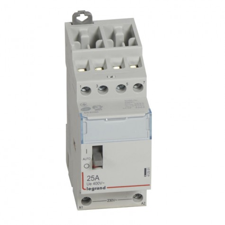 Contacteur de puissance bobine 230 V~ - 4P - 250 V~ - 25 A - 4F - 2 modules LEGRAND