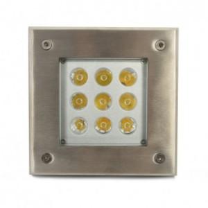 Spot LED encastrable sol carré 9W 3000°K - inox 316L VISION EL