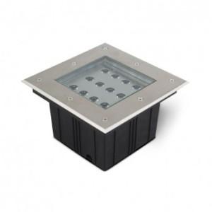 Spot LED encastrable sol carré 12W 3000°K - inox 316L VISION EL