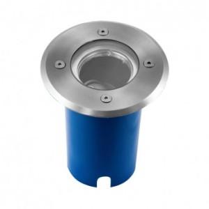 Support de spot LED encastrable sol Ø120mm + douille GU10 et GU5.3 - inox 316L VISION EL