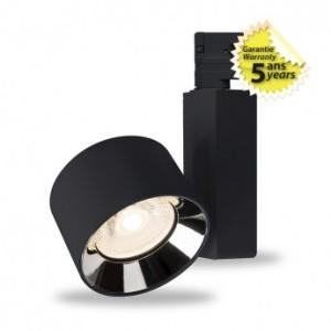 Spot LED sur rail avec adaptateur 3 allumages 20W 4000°K - Noir VISION EL