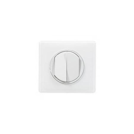 Double interrupteur ou va-et-vient avec plaque Céliane Soft - Blanc LEGRAND