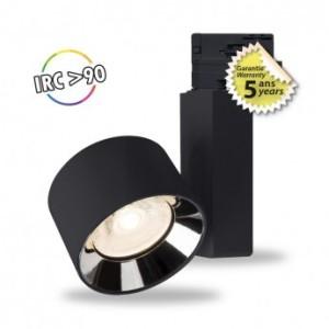 Spot LED sur rail avec adaptateur 3 allumages 30W 3000°K - Noir VISION EL