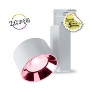 Spot LED sur rail avec adaptateur 3 allumages 30W rose - Blanc VISION EL