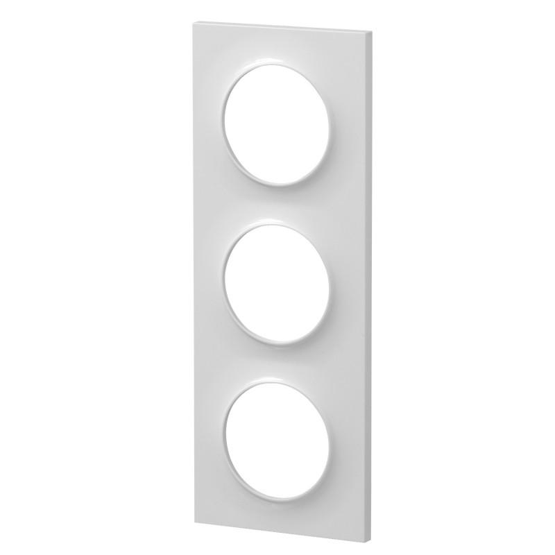 Plaque 3 postes blanc, Odace Styl SCHNEIDER