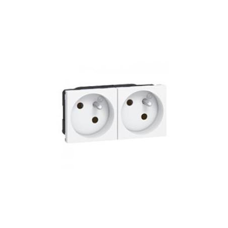 Double prise de courant 2P+T inclinées à 45° précâblées IK07 Mosaic 4 modules avec bornes automatiques - blanc LEGRAND