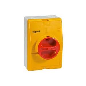 Boîtier vide pour interrupteur-sectionneur rotatif composable 3P et 4P 25A et 32A - jaune et rouge LEGRAND