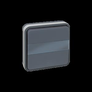 Bouton poussoir avec porte étiquette lumineux encastré 10A - Gris EUR'OHM