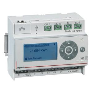 Ecocompteur modulaire IP pour mesure consommation sur 6 postes 110V~ à 230V~ - 6 modules LEGRAND