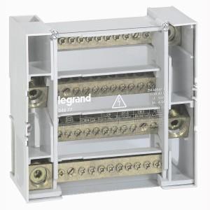 Répartiteur modulaire monobloc tétrapolaire à bornes - 250A - 12 connexions par barreau - 9 modules LEGRAND