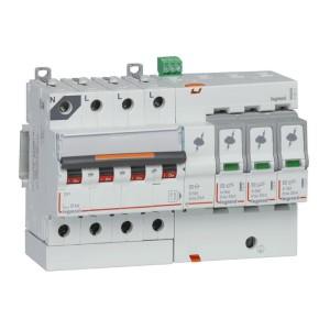 Parafoudre avec protection de court-circuit intégrée typeT2 Imax 20kA - 3P+N 320V~ - 8 modules LEGRAND
