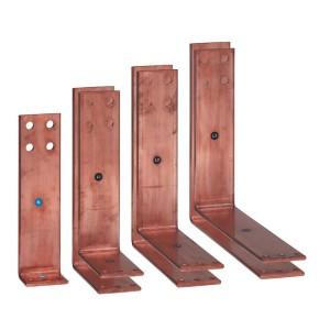 Barres cuivre pliées et percées pour raccordement aval DMX³ version fixe 2500A ou 3200A sur jeu de barres aluminium LEGRAND