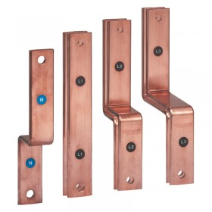 Barres cuivre pliées et percées pour raccordement aval DPX³ 1600 fixe sur jeu de barres alu dans XL³4000 475mm LEGRAND