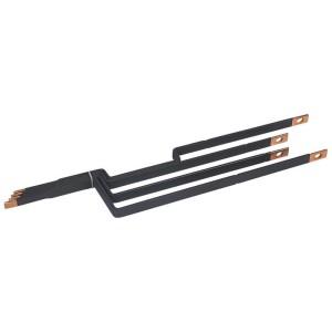 Barres cuivres rigides pour raccordement d'un DPX³160 horizontal sur un jeu de barres alu 800A VX³ en gaine à câbles LEGRAND