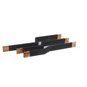 Barres cuivres rigides pour raccordement d'un DPX³1600 horizontal sur un jeu de barres alu 800A VX³ en gaine à câbles LEGRAND
