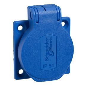 Socle de prise NF 50x50mm - 2P+T 10-16 A - IP54 - connex. arr. - bleu - PRATIKA SCHNEIDER