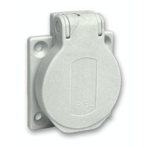 Socle de prise NF 50x50mm - 2P+T 10-16 A - IP54 - connex. arr. - gris - PRATIKA SCHNEIDER
