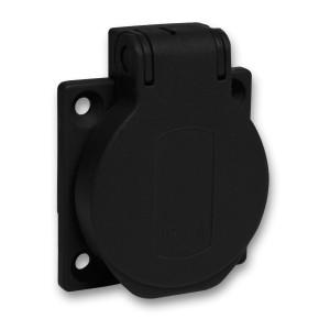 Socle de prise NF 50x50mm - 2P+T 10-16 A - IP54 - connex. arr. - noir - PRATIKA SCHNEIDER